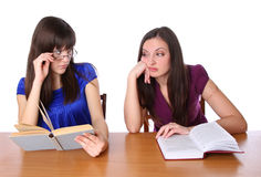 Two friends are preparing for the exam for books Royalty Free Stock Photography