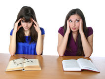 Two friends are preparing for the exam for books Stock Photos