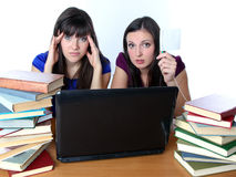 Two friends are preparing for the exam for books Royalty Free Stock Photo