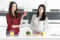 Two friends preparing food Stock Photos