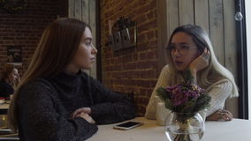 Two friends relaxing in cafe stock footage