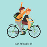 Two friends ride a bicycle color illustration for web and mobile design Royalty Free Stock Photos