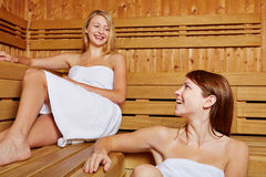 Two friends in a sauna Stock Photos