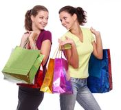 Two friends with shopping on Royalty Free Stock Photography