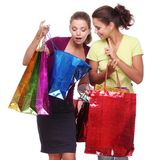 Two friends with shopping. Stock Image