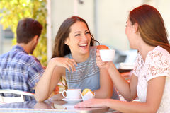 Two friends or sisters talking taking a conversation in a bar. Two friends or sisters talking taking a conversation in a coffee shop terrace looking each other Royalty Free Stock Photos