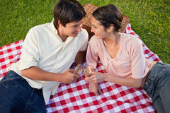 Two friends smiling towards each other during a picnic Stock Image