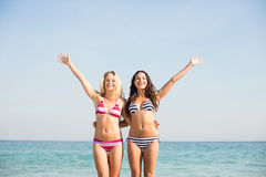 Two friends in swimsuits Stock Photos