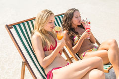 two friends in swimsuits Royalty Free Stock Photos