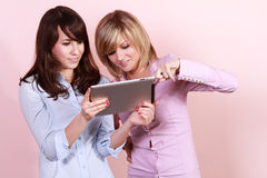 Two friends with tablet pc Stock Image