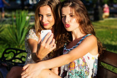Two friends taking selfie by smartphone Stock Photography
