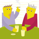 Two friends talk in a bar Royalty Free Stock Image
