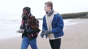 Young adults walking along a winter beach. Two friends talk and laugh whilst walking along a winter beach stock video