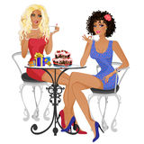Two friends talking and drinking tea. Vector illustration on white background Stock Photos