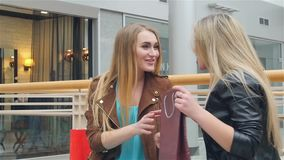 Two friends talking, showing purchase. Slow motion. Happy people concept - beautiful women with shopping bags in the ctiy stock video