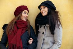 Two Friends in Their Winter Clothing. Two cheerful friends in their winter clothing Royalty Free Stock Photography