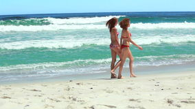 Two friends walking along the beach together stock video footage
