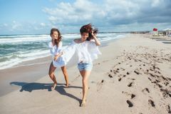 Two friends walking on the beach royalty free stock image