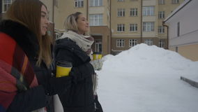 Two friends walking down the street and drink coffee in winter.  stock video