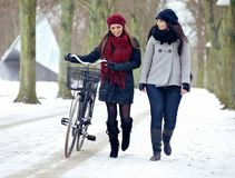 Two Friends  Walking Together on a Snowy Outdoors Royalty Free Stock Photography