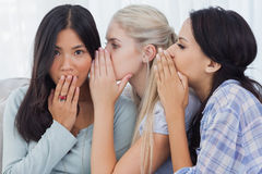 Two friends whispering secrets to surprised brunette Royalty Free Stock Images