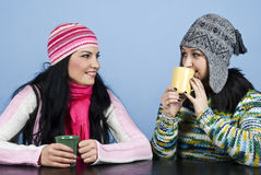 Two friends women enjoy a conversation Stock Image