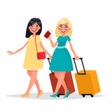 Two friends women with luggage are gone to travel by plane. Vect Royalty Free Stock Photography