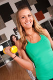 Two friends workout together in a gym Royalty Free Stock Photos