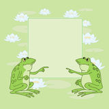 Two frogs. Two laughable frogs are sitting on the pond royalty free illustration