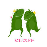 Two Frogs Prince and Princess in Love Kissing. Fairy tale green frogs with crowns presenting flower illustration Royalty Free Stock Images