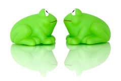 Two frogs reflecting Stock Photos