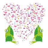 Two frogs singing in the background heart Stock Image