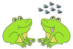 Two frogs waiting for flies. Funny cartoon illustration Royalty Free Stock Photography