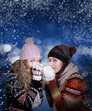 Two frozen beauty girls Royalty Free Stock Images