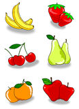 Two fruit. Illustration depicting some pairs of fruits on white and light gray shade Stock Image