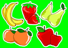 Two fruit. Illustration depicting pairs of colorful fruits Stock Photo