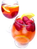 Two fruit cocktail drinks with strawberry Royalty Free Stock Image