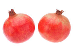 Two fruit pomegranate on a white background. Royalty Free Stock Photos