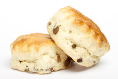Two fruit scones on white Stock Photography