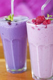 Two fruit smoothie drinks Stock Photos