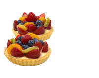 Two fruit tarts. Isolated. Stock Photos