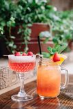 Two alcoholic cocktails garnished with berries and mint. Two fruity alcoholic cocktails garnished with berries and mint on a wooden table outside royalty free stock photos