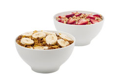 Two fruity breakfast cereal stock photography