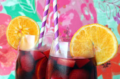 Fruity Red Wine Sangrias Royalty Free Stock Images