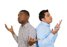 Two frustrated men back to back Royalty Free Stock Photography