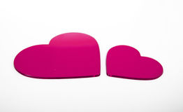 Two Fuchsia Hearts Royalty Free Stock Photography