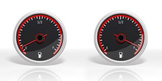 Two fuel dial meters Stock Photo