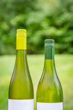 Two full green wine bottles outdoors next to each other. Royalty Free Stock Photography