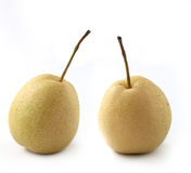 Two fully ripe organic pears on white Stock Photography