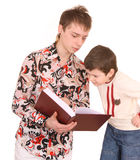 Two fun brother read book. Royalty Free Stock Images